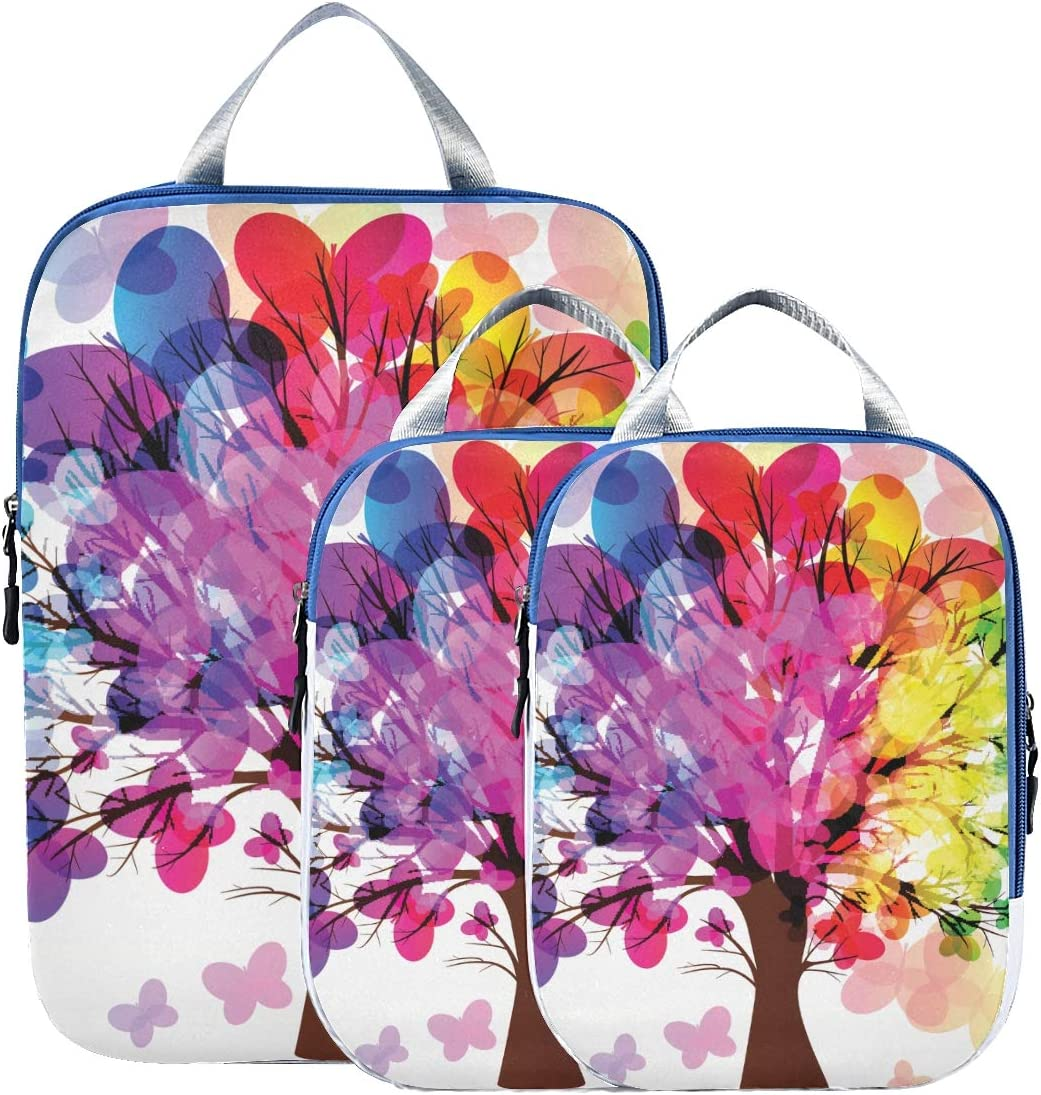 e Butterfly Tree 3 Set Packing Cubes,2 Various Sizes Travel Luggage Packing Organizers