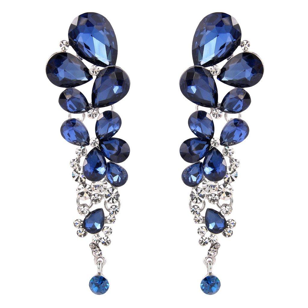 EVER FAITH Women's Austrian Crystal Gorgeous Tear Drops Wedding Dangle Earrings Navy Blue Silver-Tone