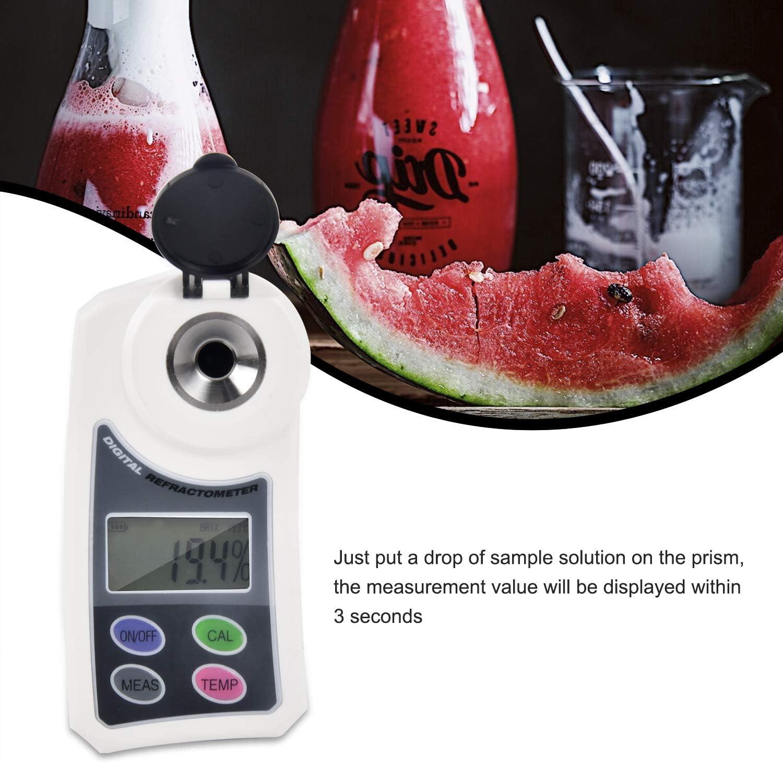 ECC KKmoon Rifrattometro di Zucchero Digital Brix Misuratore di Dolcezza Elettronico Portatile Saccarimetro Campo di Misura 0,0-55/% Brix per Colture di Frutta in Acqua Cibo Bevande Frutta