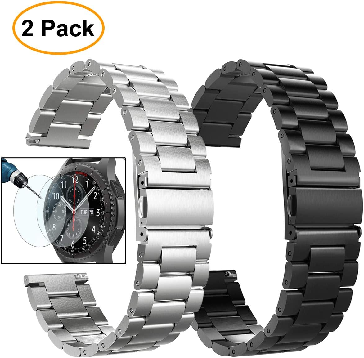 Gear S3 Frontier/Classic Watch Bands, Valkit 22mm Stainless Steel Band, Metal Loop Mesh Replacement Metal Strap +Screen Protector for Samsung Gear S3 Frontier/Classic Smart Watch/Galaxy Watch 46mm