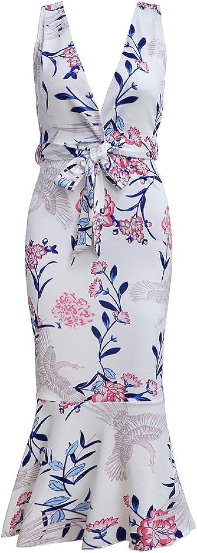 Vestido de Mujer Slim Sexy Loose Fashion Simple Print Lotus Leaf Lace Vestido de Talla Grande