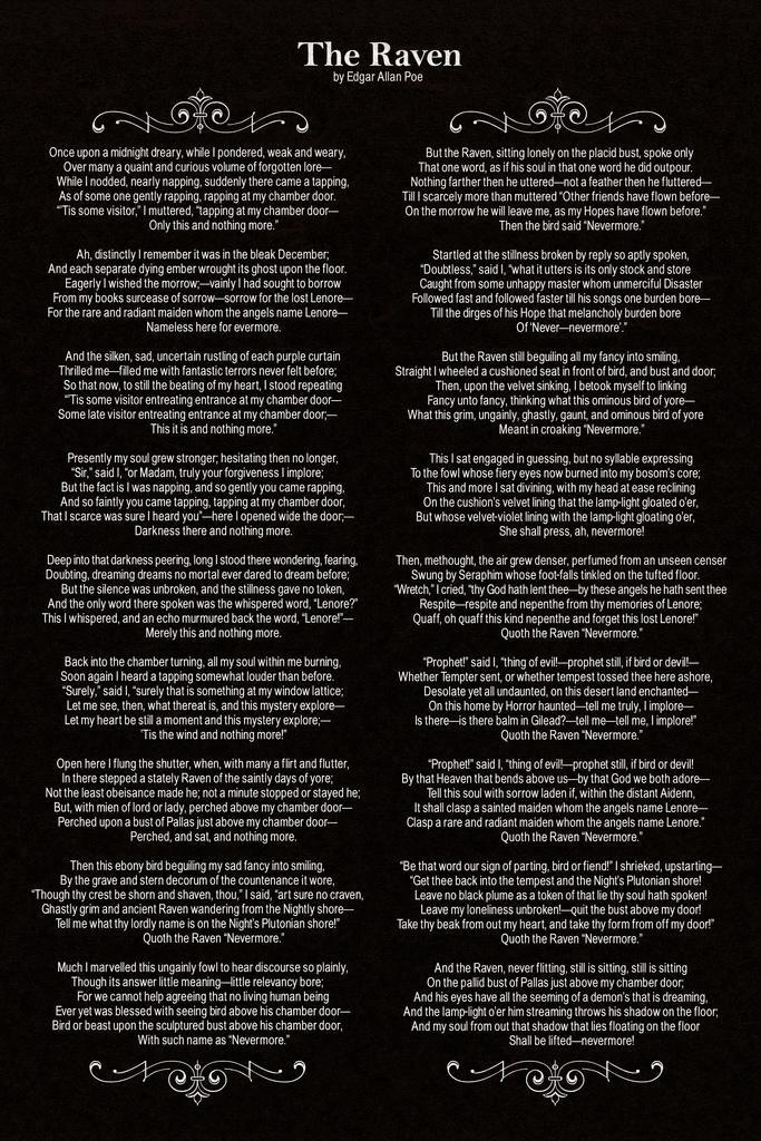 Amazon.com: Edgar Allan Poe The Raven Poem Art Print Framed Poster 14x20 inch: Posters & Prints