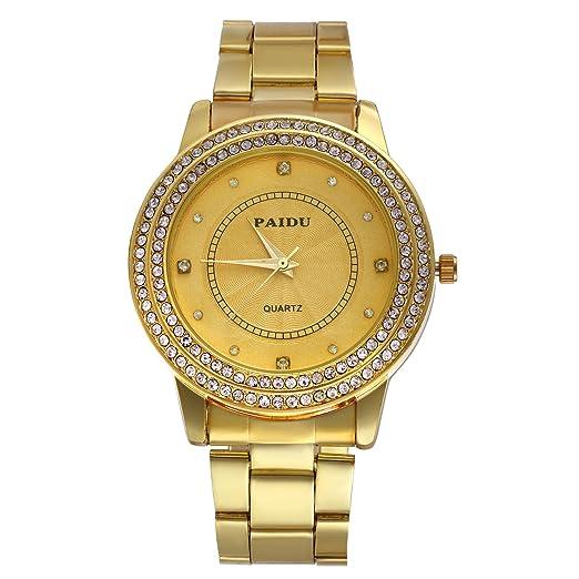 Oro Mujer Hombre Reloj de pulsera, lancardo Fashion Luxus Casual reloj analógico de cuarzo con correa de acero inoxidable, tiempo los Esfera con Brillantes: ...