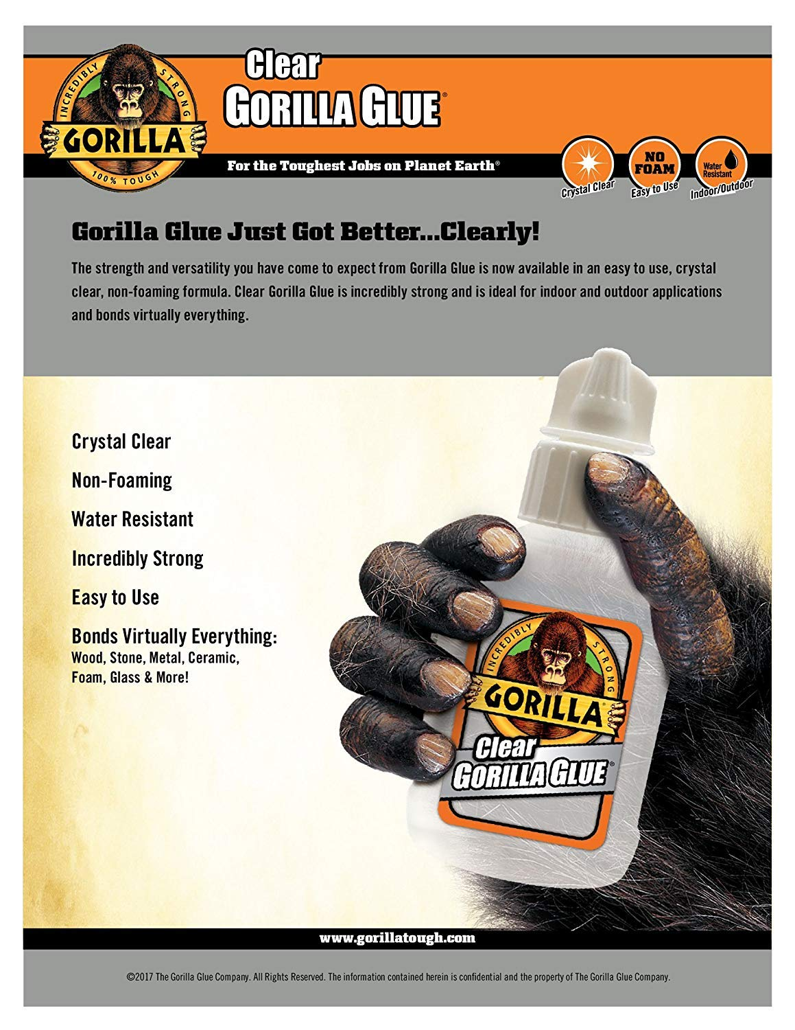 Gorilla Clear Glue, 5.75 ounce Bottle, Clear (Pack of 1) (2-(Pack)) by Gorilla (Image #3)