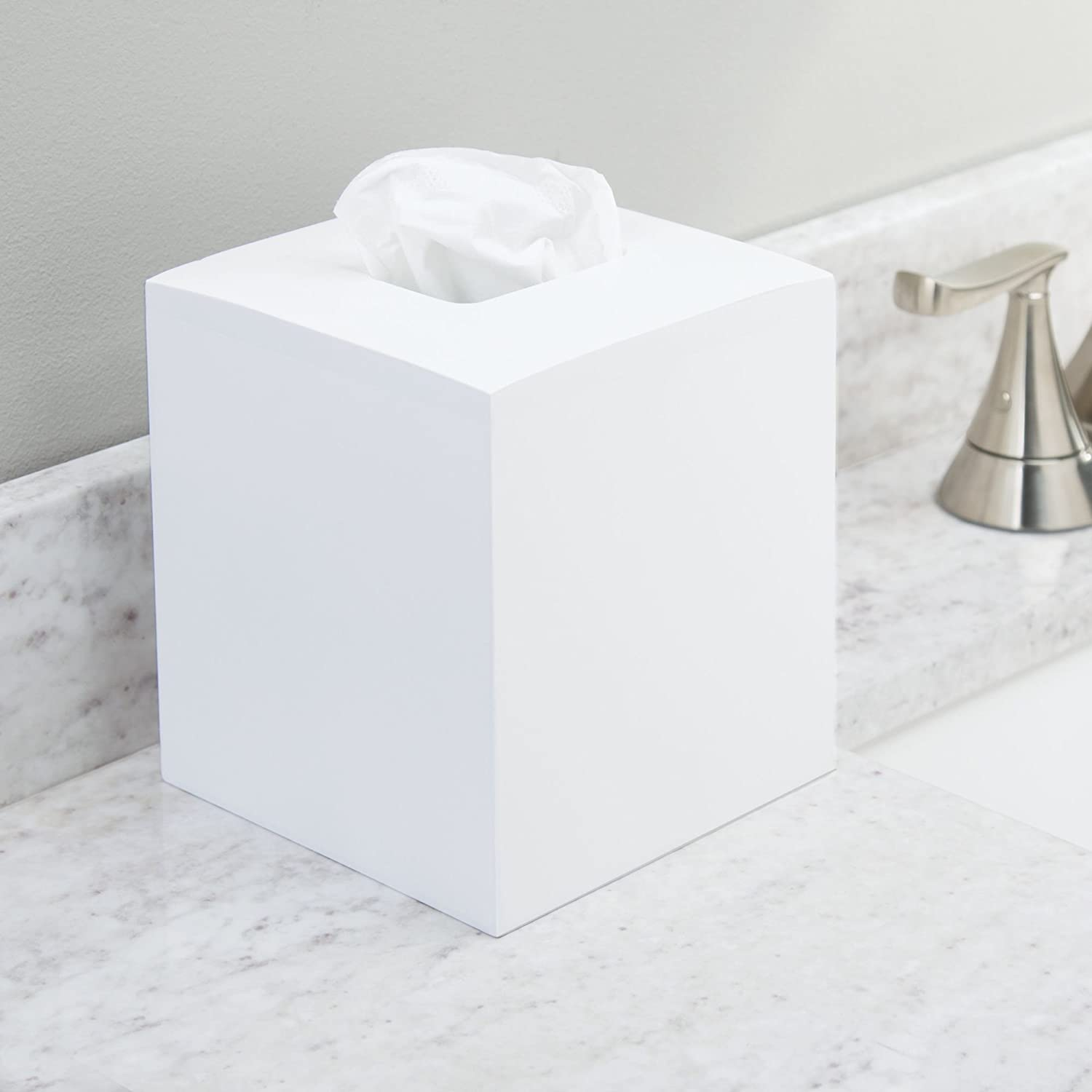 Night Stands mDesign Square Bamboo Wood Facial Tissue Paper Box Cover Holder for Bathroom Vanity Counter Tops White MetroDecor Home Office Desks Tables Bedroom Dressers
