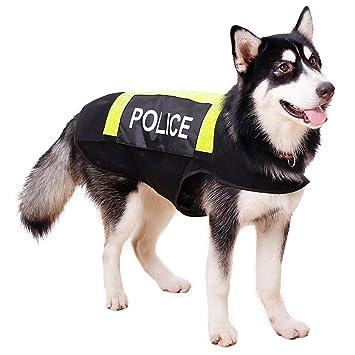 FishBabe - Chaleco reflectante de malla para mascotas de verano, velcro, disfraz de policía