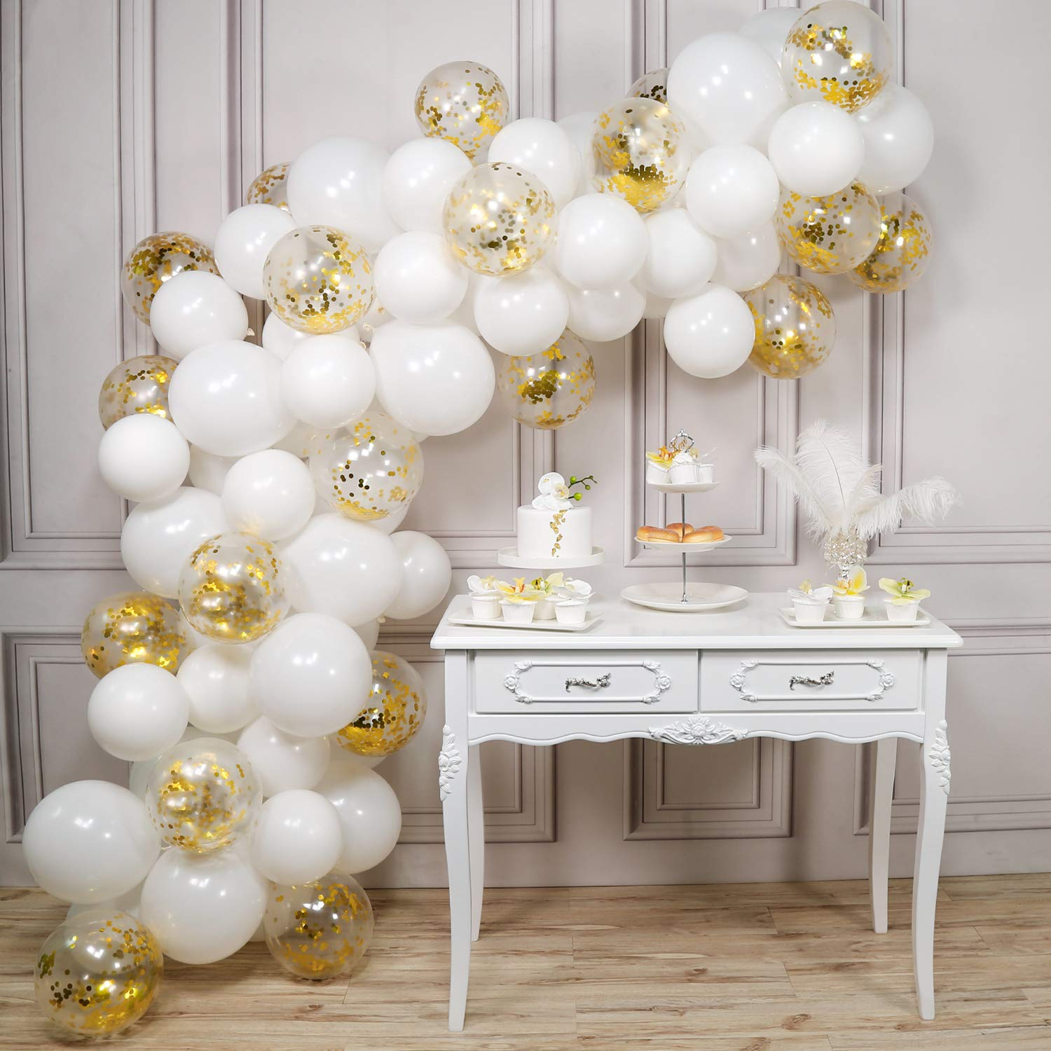 PartyWoo White and Gold Balloons, 100 pcs 12 In White Balloons and Gold Confetti Balloons, White and Gold Balloon Garland for White and Gold Baby Shower Decorations, White and Gold Wedding Decorations