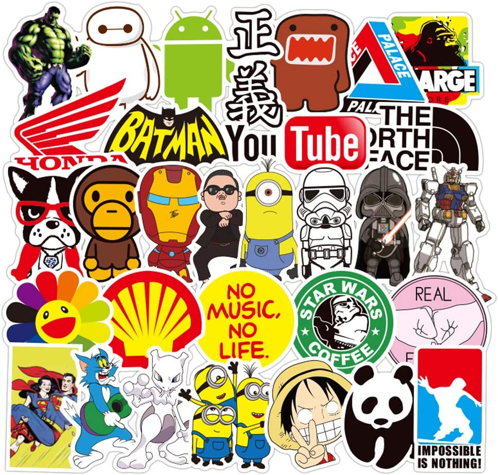 WeeDee Stickers Pack Adesivi Vinili Adesivo Sticker Bomb per PC Portatili A-50Pcs Abbellire Bagaglio Bicicletta Skateboard Auto Moto