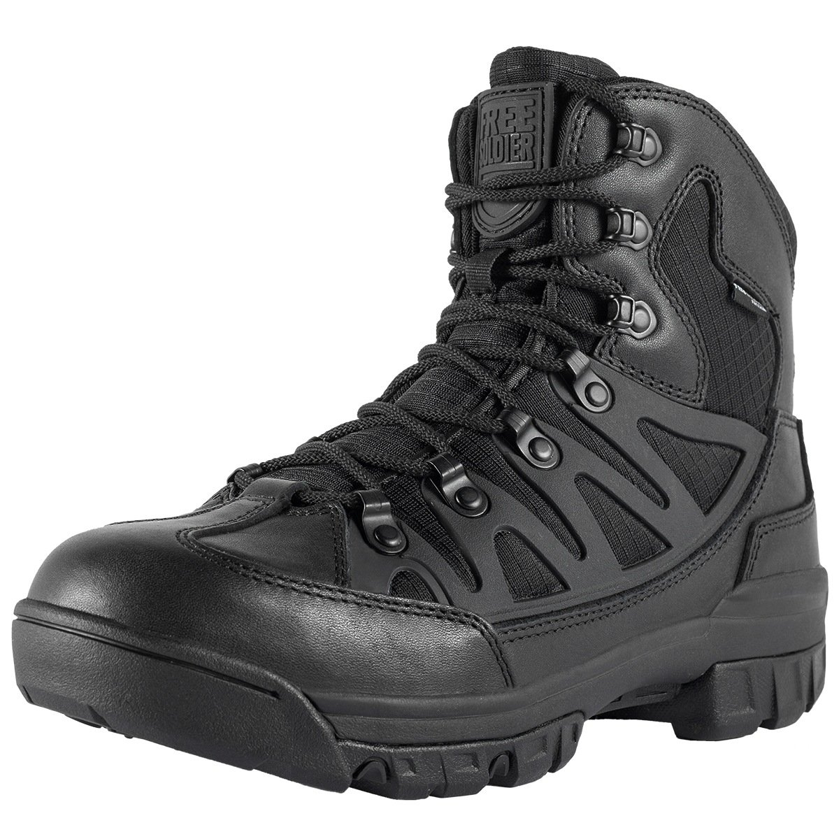 FREE SOLDIER Men's Outdoor Military Tactical Ankle Boots Ultra Winter Mid Hiking Boot(Black + Full Grain 10.5)