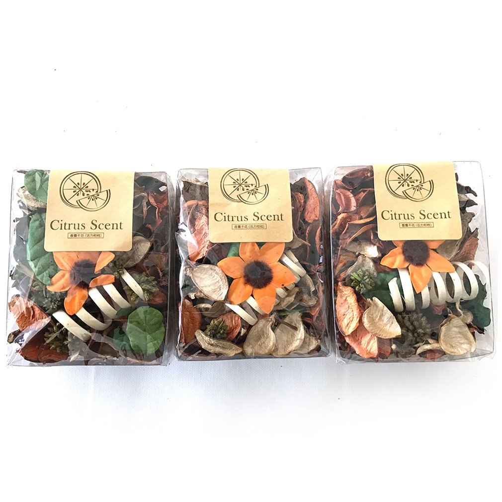 Qingbei Rina Gifts.Blue Ocean Scent Fresh Potpourri Bag, Petal, Perfume Satchel, Decorate Bowl and Vase.3 Bags.7.5OZ. (Orange)
