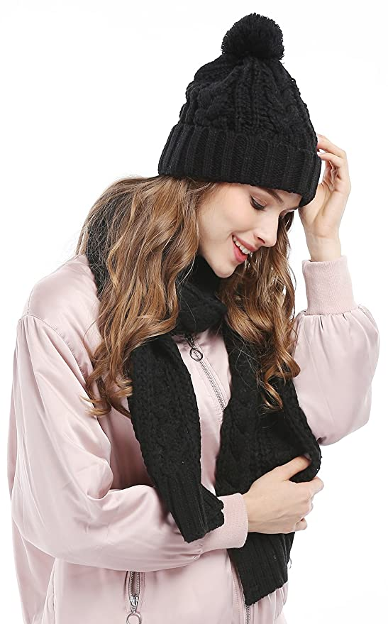ffdcb30ba0f Women s Scarf and Hat 2pcs Set Knitted Warm Skullcaps Thicken Beanie ...