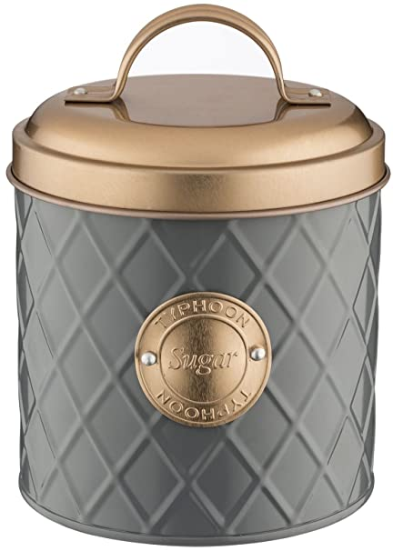 Typhoon Living Lid Sugar Storage Tin, Stainless Steel, Grey/Copper, 10.5