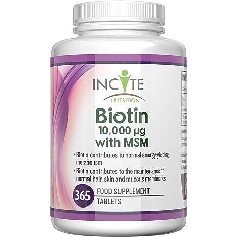 Vitaminas para el Crecimiento del Cabello Biotina + MSM Biotina de 10000 MCG + MSM de