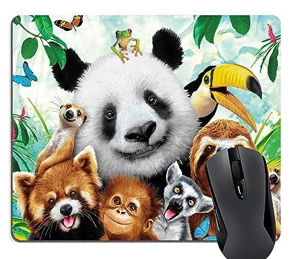 f3130e22d7634 Knseva Zoo Animals Selfie Funny Mouse Pad, Sloth Panda Monkey Raccoon  Parrot Frog Cute Mouse Pads