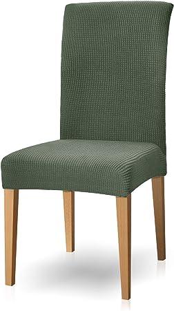 Subrtex - Juego de 4 fundas elásticas para sillas de jardín (lavables), poliéster, verde oliva, 2 unidades: Amazon.es: Hogar