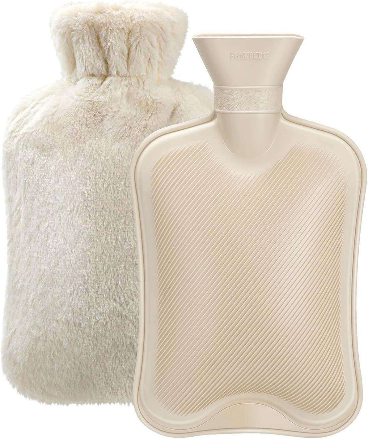 Hot Water Bottle with Soft Cover (2 Liter) Classic Rubber Hot Water Bag for Cramps, Neck, Shoulders Pain Relief, Hot Cold Pack for Hot and Cold Therapy and Feet Warmer, Great Gift for Women and Girls: Health & Personal Care