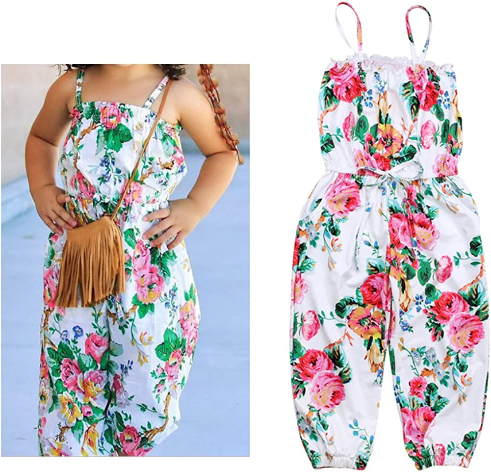 YDuoDuo 2-7T Baby Toddler Girl Summer Romper Jumpsuit Floral Sling Corset One-Pieces Harem Pants Outfit