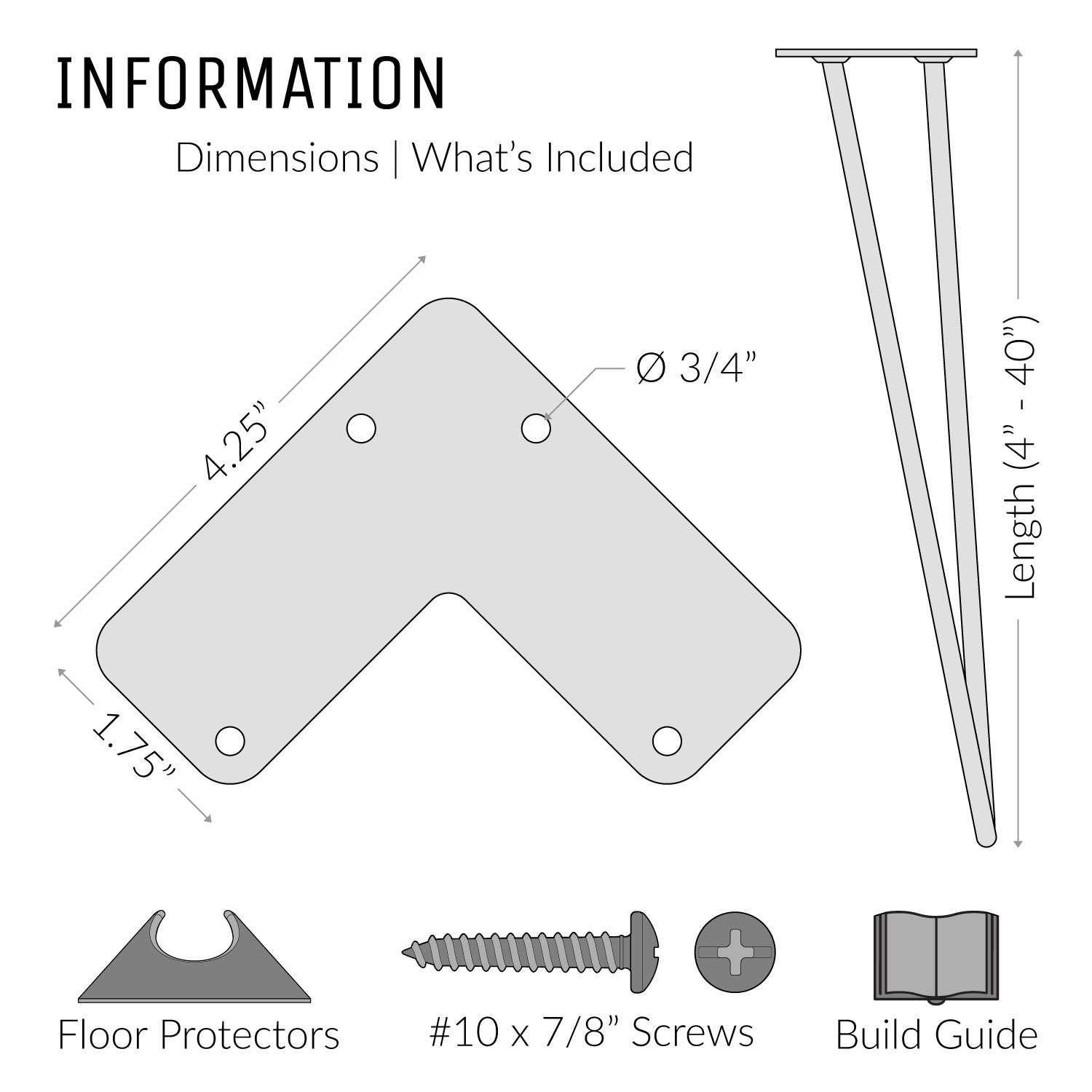 4 x Heavy Duty Hairpin Table Legs – Superior Double Weld Steel Construction With Free Screws, Build Guide & Protector Feet, Worth $10! – Mid-Century Modern Style – 16'' To 40'', All Finishes (1/2 inch) by The Hairpin Leg Co. (Image #8)