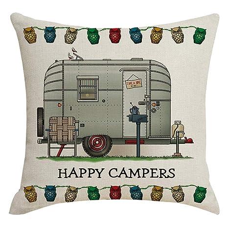Fengleas - Almohada Happy Camper Text decoración cojín con ...