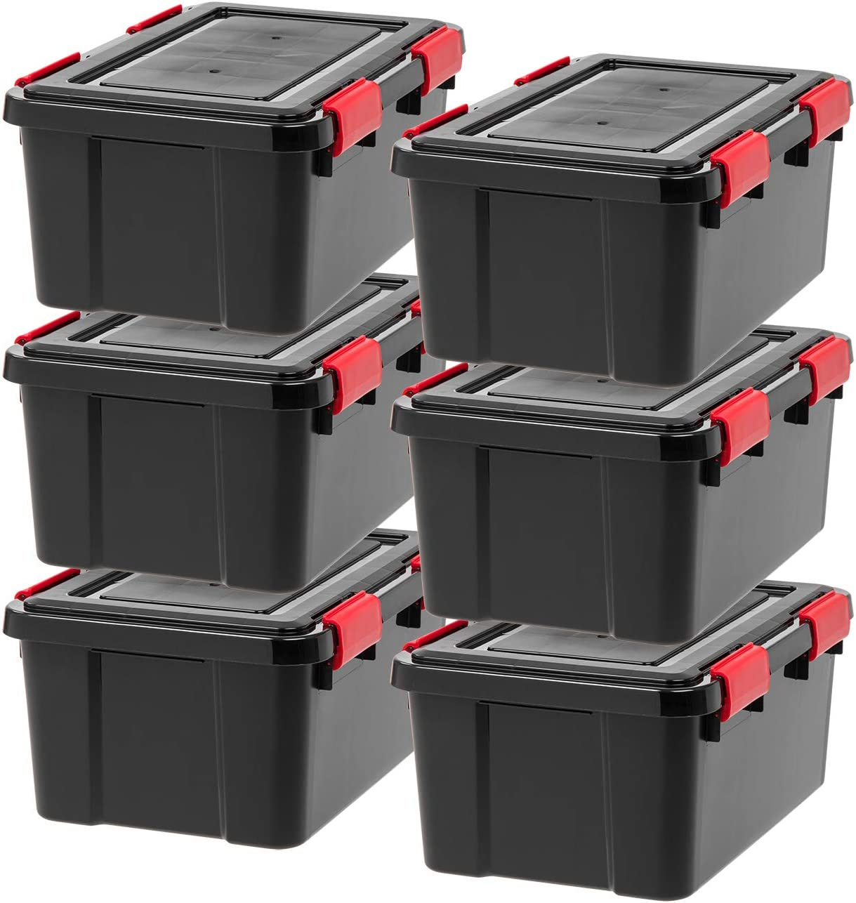 iris UCB-SS WEATHERTIGHT Storage Box, 19 Quart, Black, 6 Pack