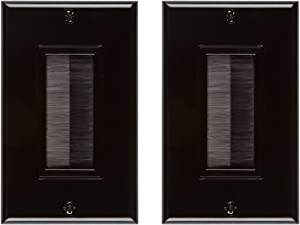 Buyer's Point Brush Wall Plate [UL Listed], Decora Style, Cable Pass Through Insert for Wires, Single Gang Cable Access Strap, Wall Socket for HDTV, HDMI, Home Theater Systems (2 Pack, Black)
