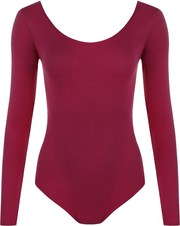 Bodysuits New Ladies Women Roundneck Long-Sleeve Stretch Quality Leotard