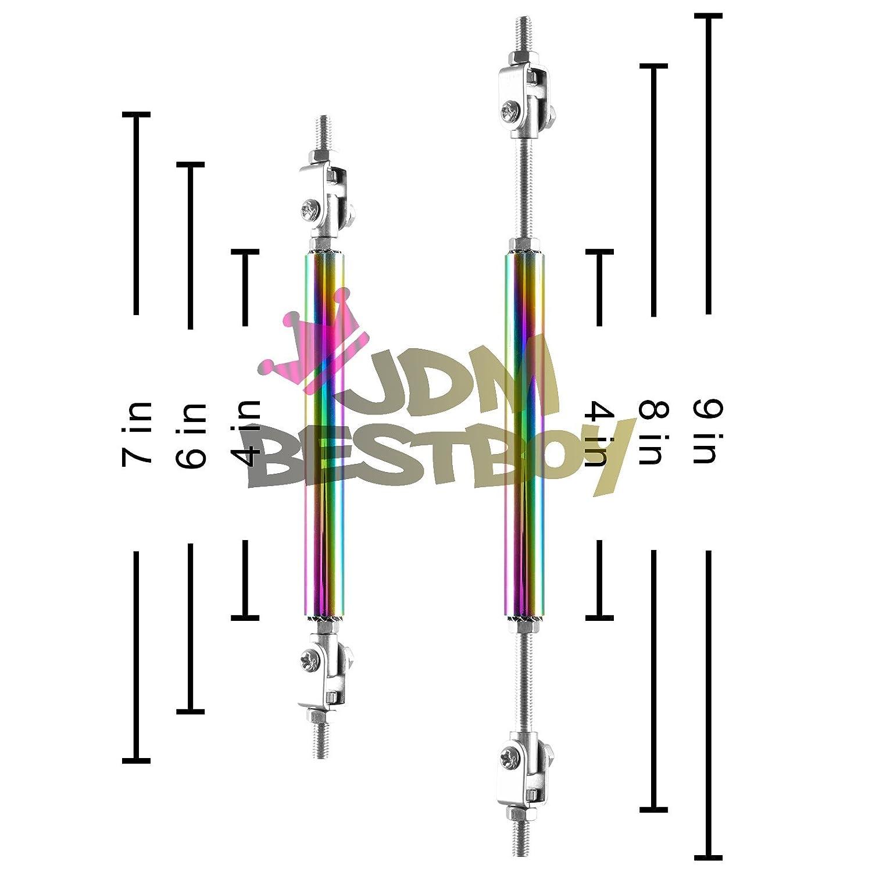 Gold 6-8 Adjustable Front//Rear Frame Bumper Lip Splitter Strut Rod Support Bar