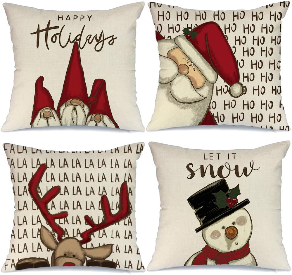 AENEY Christmas Pillow Covers 18x18 Set of 4, Gnome Santa Deer Snowman Rustic Winter Holiday Throw Pillows Farmhouse Christmas Decor for Home, Xmas Decorations Cushion Cases for Couch A313-18