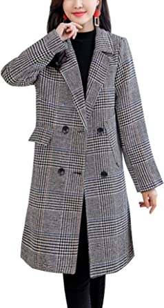 Aishang Womens Simple Loose Lapel One-Button Long Blazer Wool Trench Coat