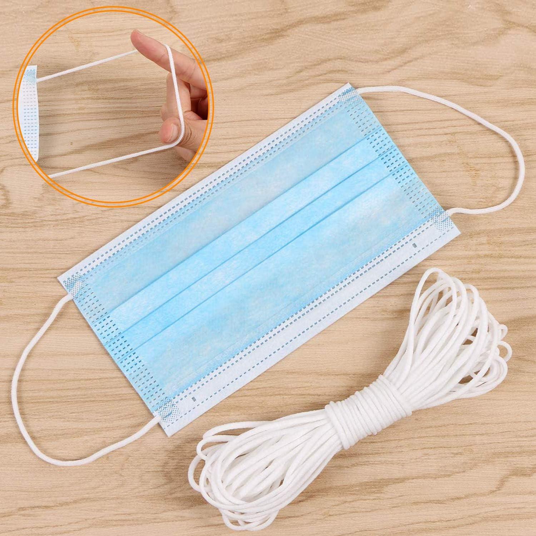 Artisanat Bande /élastique pour Masque Bande /élastique de 3 mm V/êtements de Bricolage Blanc Masque en Caoutchouc pour la Couture