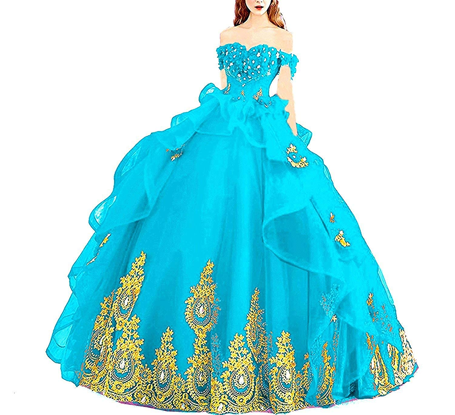 96963a99953 20KyleBird Gorgeous Off The Shoulder Gold Appliques Quinceanera Dresses  Beaded Organza Prom Evening Party Ball Gowns at Amazon Women s Clothing  store