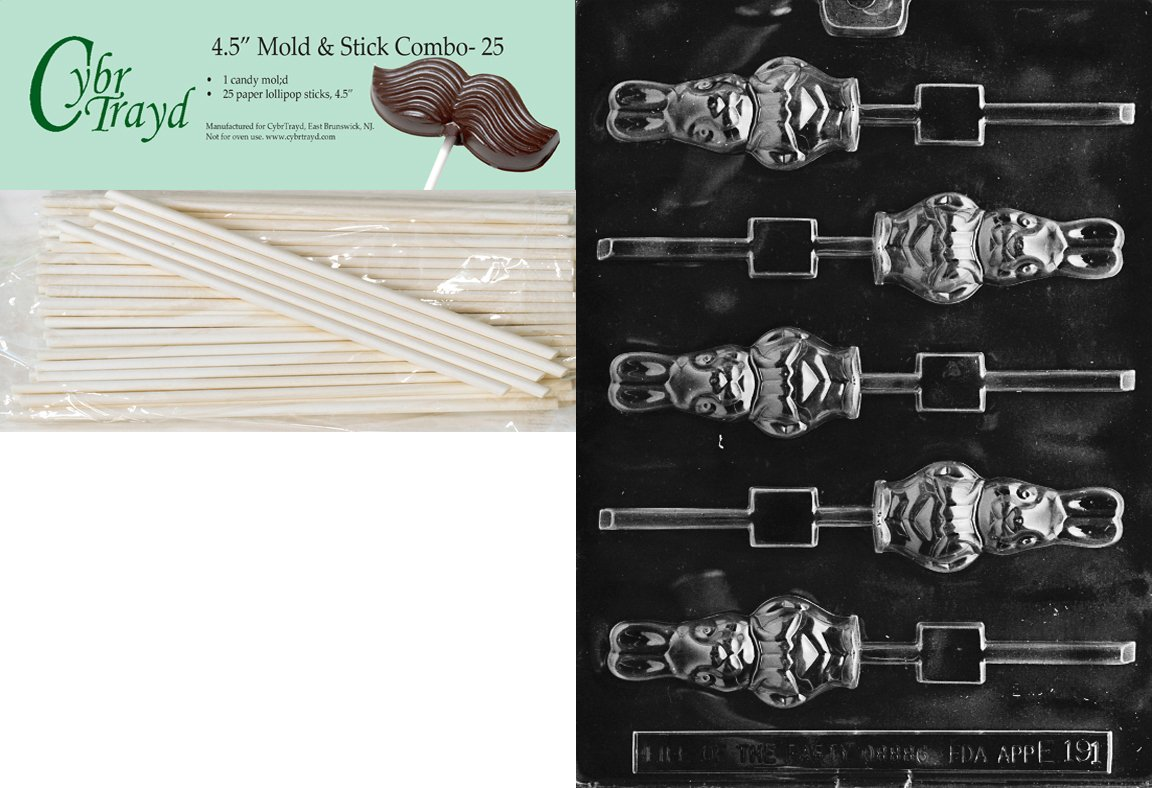 Cybrtrayd Bunny with Jacket Lolly Easter Chocolate Candy Mold with 25 4.5-Inch Lollipop Sticks