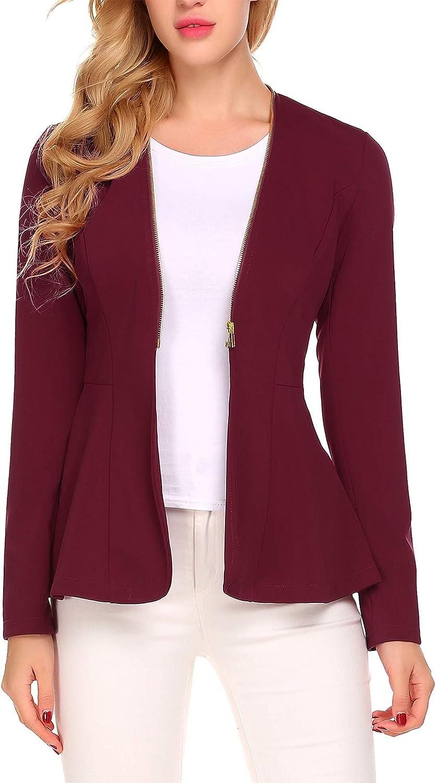 Burlady Women's Long Sleeve Zipper Casual Work Office Open Front Short Blazer Jackets