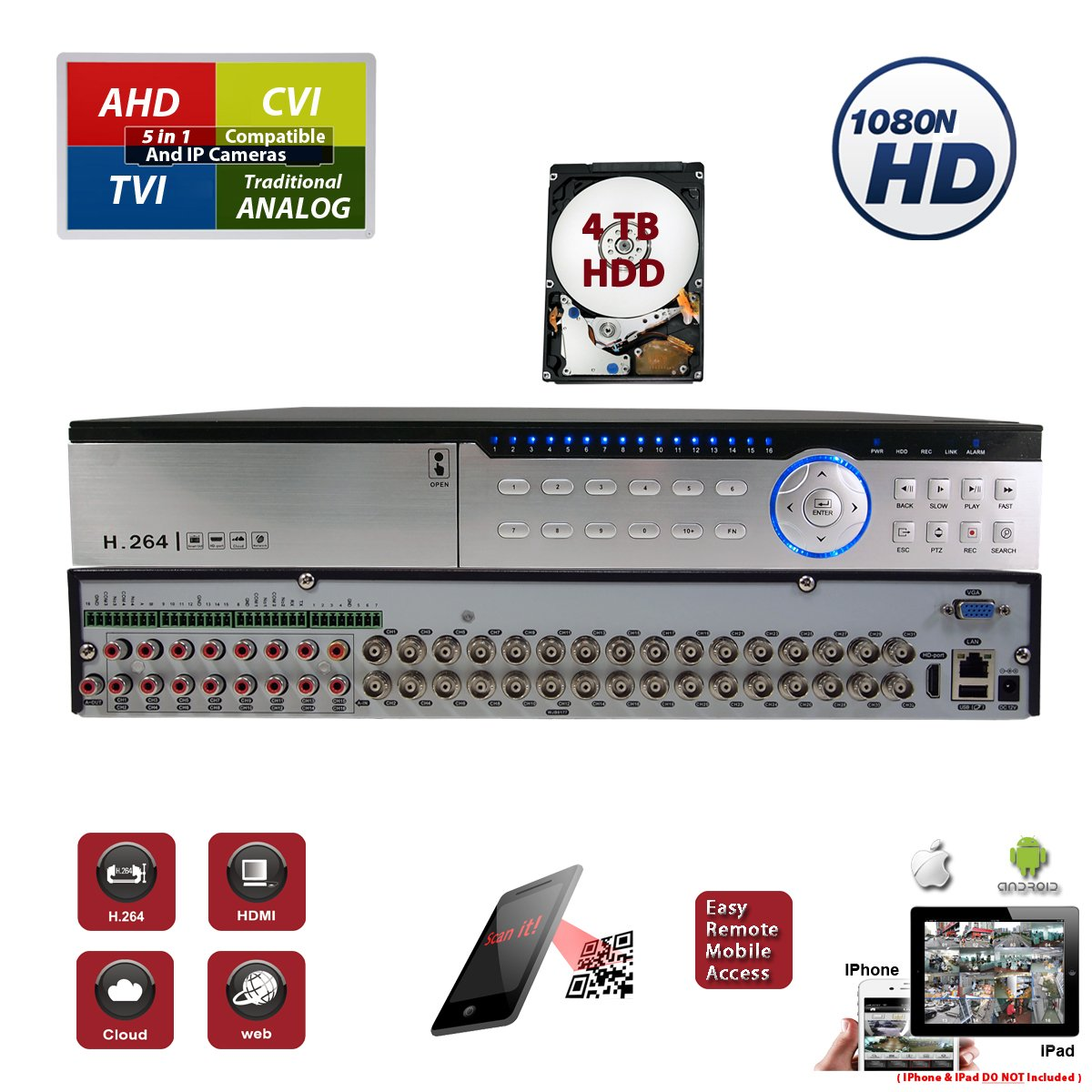 32 Channel H.264 HD 1080 CCTV Security Home Office Professional DVR Recorder with 4TB HDD Included by Evertech (Image #1)
