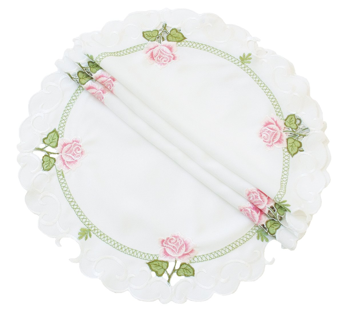 Xia Home Fashions Summer Rose Embroidered Cutwork Spring Doilies, 12-Inch Round, Set of 4