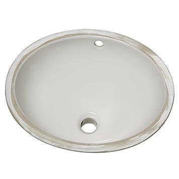 Ovalyn 17 Inch Basin Undercounter Bathroom Sink, White