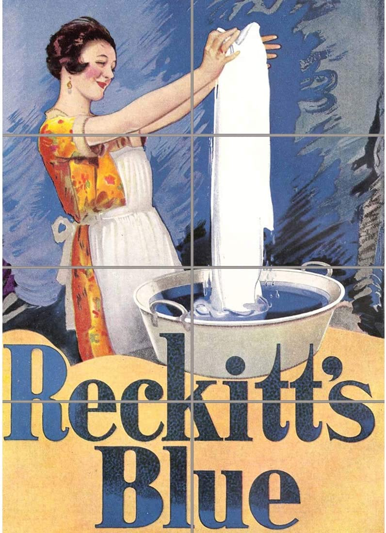 LAUNDRY HOUSEWORK WOMAN RECKITTS BLUE BARRIBAL Poster Canvas art Prints