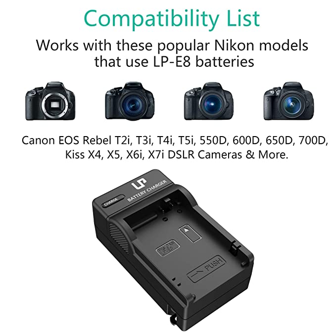 LP LP-E8 Battery Charger, Compatible with Canon EOS Rebel T2i, T3i, T4i, T5i, 550D, 600D, 650D, 700D, Kiss X4, X5, X6i, X7i Cameras & More (Not for T2 ...