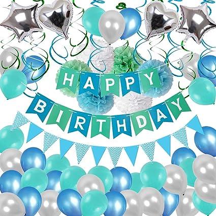 Birthday Decorations Puchod Happy Party Decoration Kit Green Confetti Balloons 94pcs Swirl Blue
