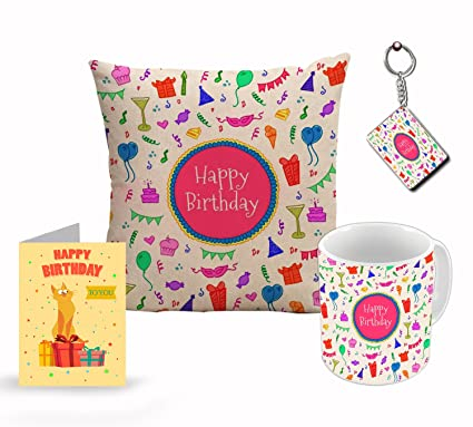Style Happy Birthday Pattern Fabric Cushion Cover With Filler 350 Ml Ceramic Mug Greeting