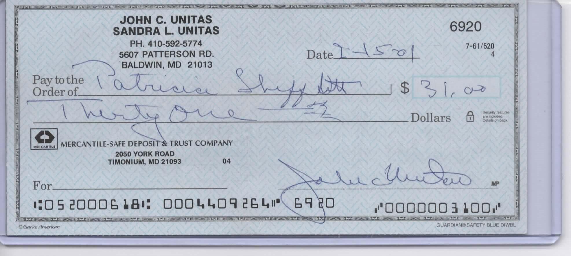 JOHNNY UNITAS PERSONAL CHECK #6920 JSA HOF COLTS