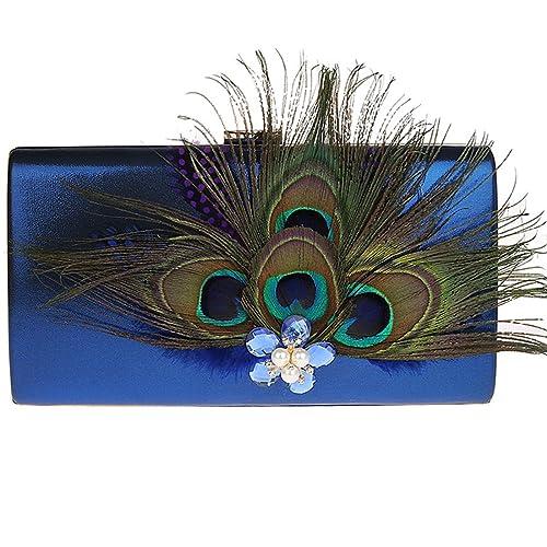 KAXIDY Bolsos de Fiesta Bolsos Ceremonia Clutches Para Carteras de Mano Bolsos Vestir Fiesta (Azul