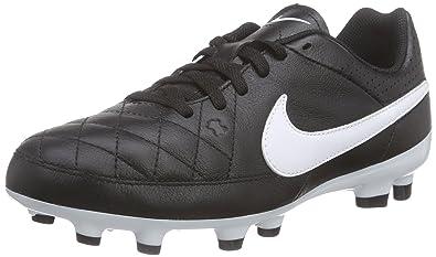 sale retailer 56179 cdb4e Nike Tiempo Genio Leather FG Mixte Enfant Chaussures de Football Noir/Blanc  36 EU