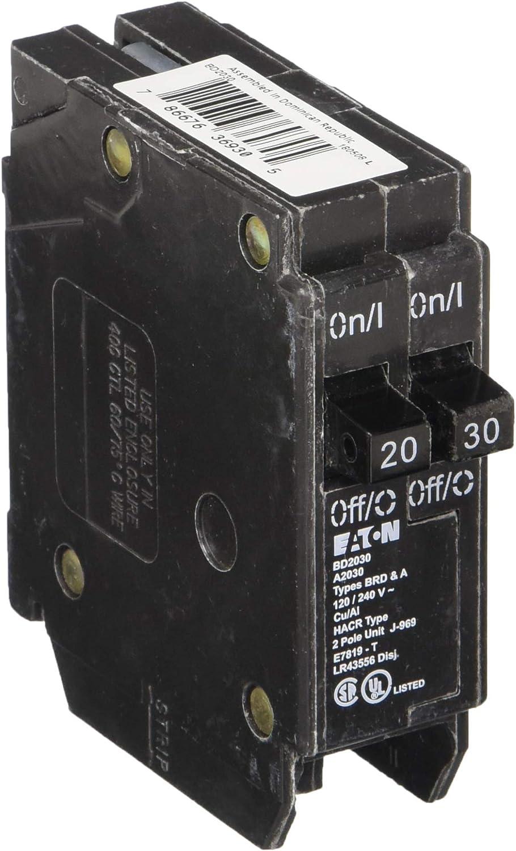 EATON BD2030 Type Bd Twin Circuit Breaker, 120 Vac, 20/30 A, 1 P, 10 Ka 718Hc4CDdkL