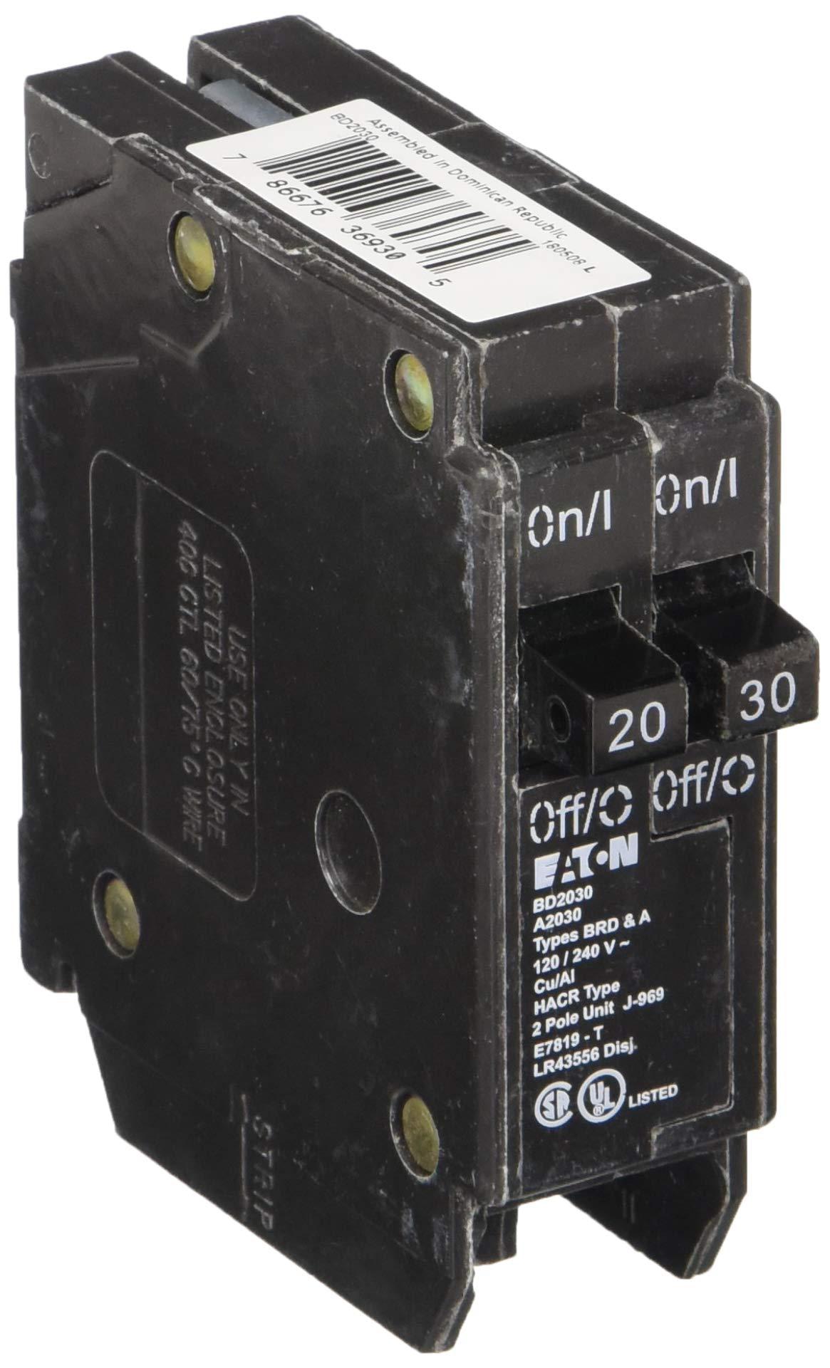 EATON BD2030 Type Bd Twin Circuit Breaker, 120 Vac, 20/30 A, 1 P, 10 Ka