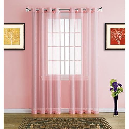 Warm Home Designs Rose Pink Window Scarves Sheer Light: Blush Pink Room Decor: Amazon.com