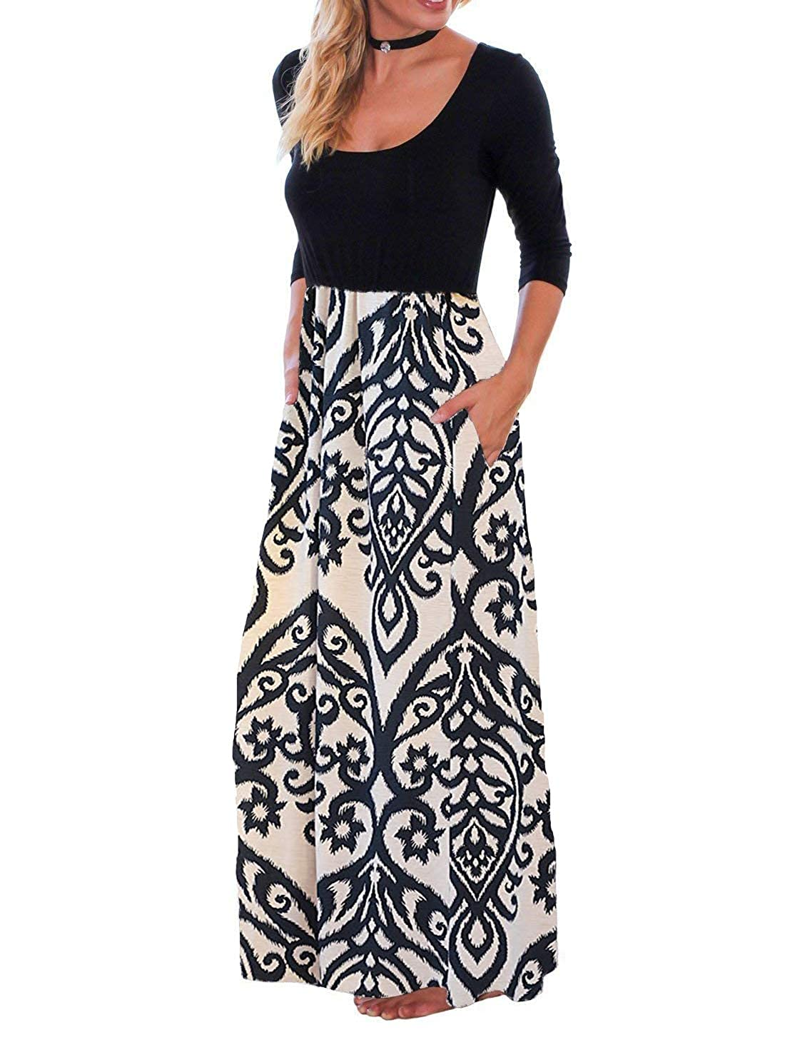 7797d7f2843 OURS Women s Casual 3 4 Sleeve Floral Print Dresses Ethnic Style Party Long  Maxi Dresses with Pockets at Amazon Women s Clothing store