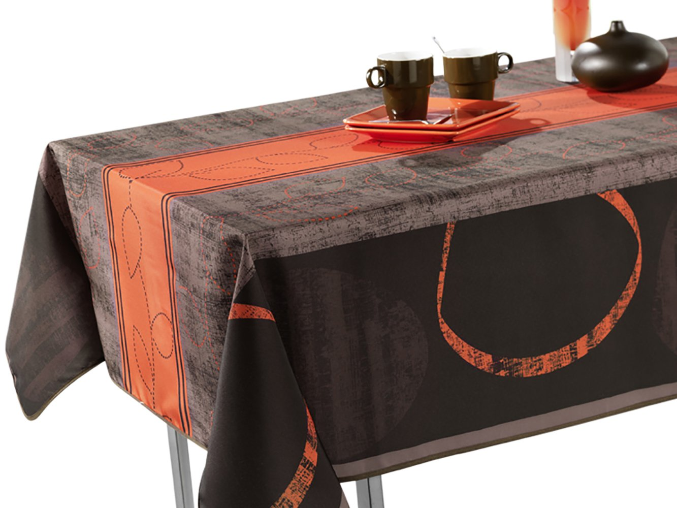 "60 x 95-Inch Rectangular Tablecloth Grey and Brown Modern Orange, Stain Resistant, Spill Proof, Liquid Spills bead up, Seats 8 to 10 People (Other Size Available: 63"" Round, 60 x 80"", 60 x 120"")."