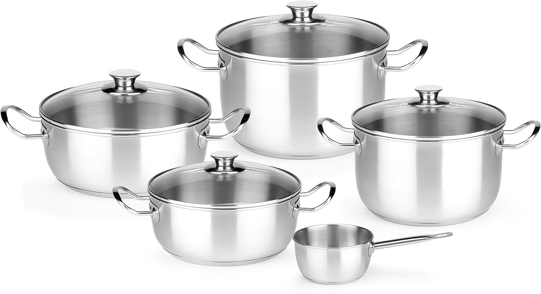 Monix Chef - Menaje de 5 Piezas, Acero Inoxidable con Tapa, Apta para Todo Tipo de cocinas incluídas de inducción