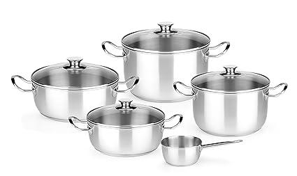 Monix Chef - Menaje de 5 piezas, acero inoxidable con tapa, apta para todo